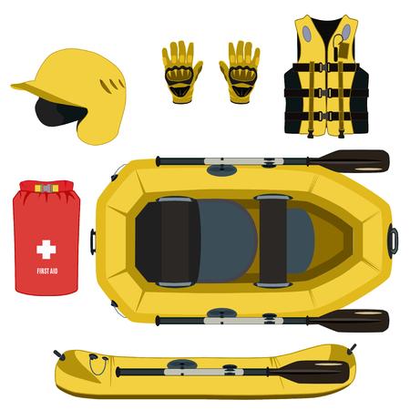 Attrezzatura da rafting e set di icone di equipaggiamento protettivo. Gommone gommone con guanti per casco da paddle, borsa asciutta di pronto soccorso, giubbotto di salvataggio gonfiabile. Piatto di vettore isolato su priorità bassa bianca.