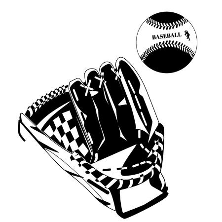 Black baseball glove and ball. Vector illustration isolated on white background. Illustration