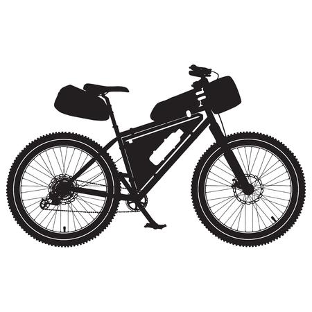 Ilustración de vector de silueta negra de bicicleta bikepacking