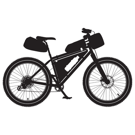Vector illustration of bikepacking bike black silhouette