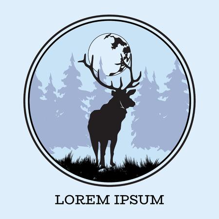 Deer silhoueete with moon vector flat illustration