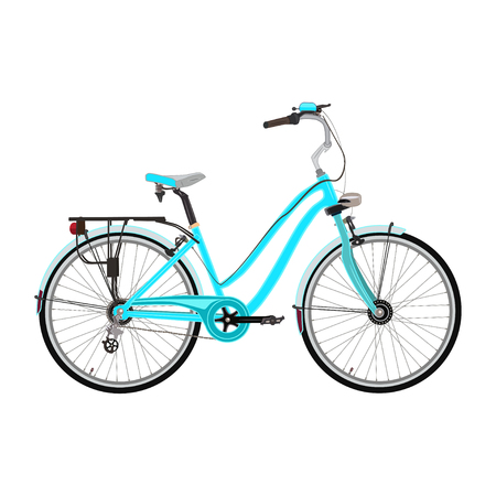 Vector illustration of city bicycle isolated on white background. Modern women bike with rear and front fenders in flat style. Ecological street transport.