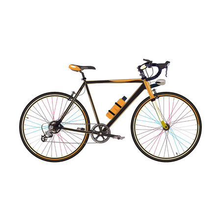 Vector illustration of road bike isolated on white background. Road racing bicycle in flat style.