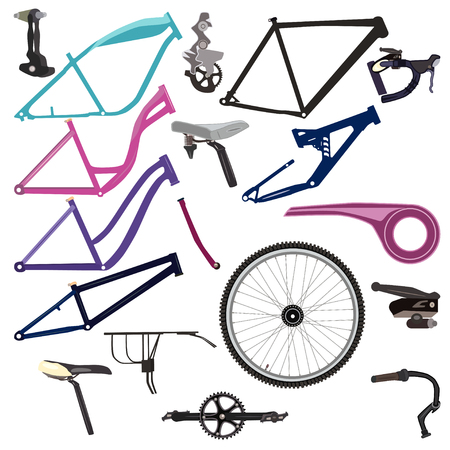 Bike parts and cycling equipment vector illustration