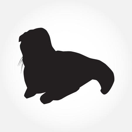 Cat black silhouette on white vector illustration Vektoros illusztráció