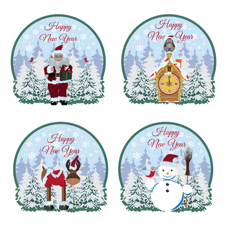 Happy New Year greeting cards, stickers, labels. Vector flat illustration of Santa Claus, reindeer, snowman, owl sitting on fairy house with clock, snowy pine trees. Stock Illustratie