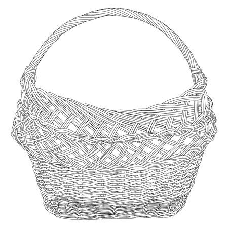 Empty wicker basket black silhouette on white background. Vector illustration. 向量圖像
