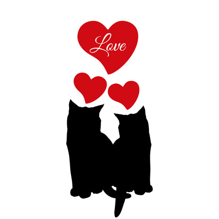 Cat love couple black silhouette, vector illustration