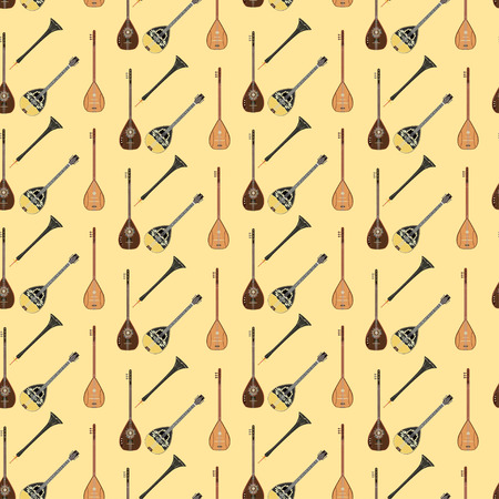 Vector seamless pattern with turkish musical instruments baglama, zurna, electric baglama and bouzouki. Music background, wallpaper, fabric, wrapping paper.