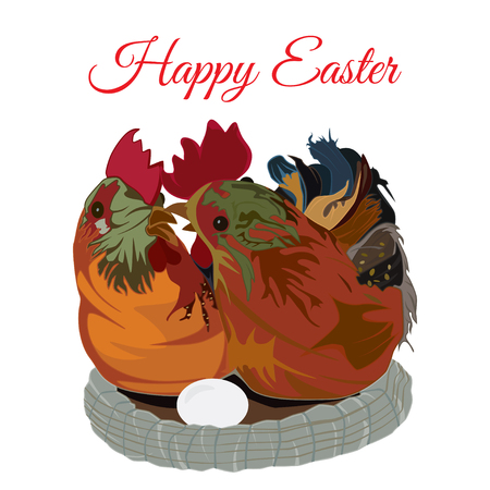 Cute chicken family in the nest. Vector flat illustration. Happy Easter greeting card template. Illustration
