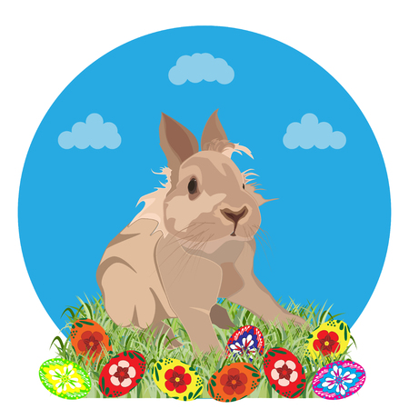 Happy Easter greeting card template, vector illustration