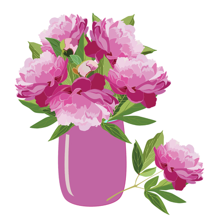 Bouquet of pink peonies in vase, vector flat isolated illustration