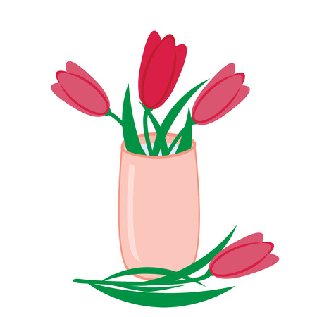 Bouquet of pink tulips in vase, vector flat isolated illustration