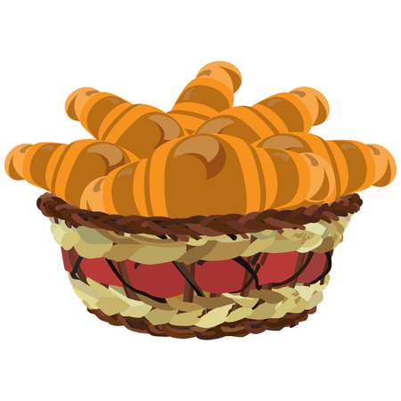 Wicker basket with croissants, vector flat illustration