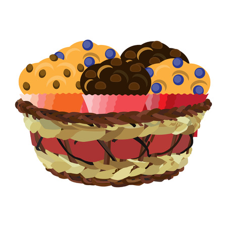 Wicker basket with muffins, vector flat illustration