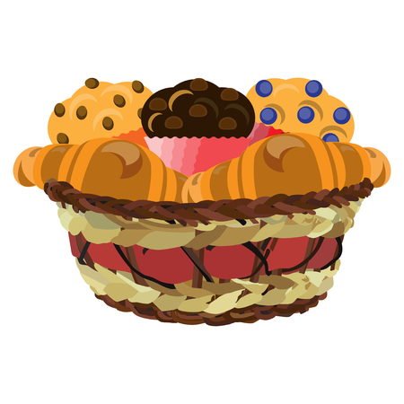 Wicker basket with muffins and croissants, vector flat illustration