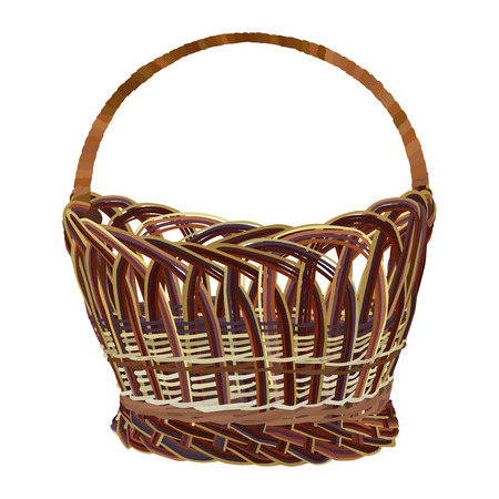 Empty brown wicker basket. Vector illustration isolated on white background.