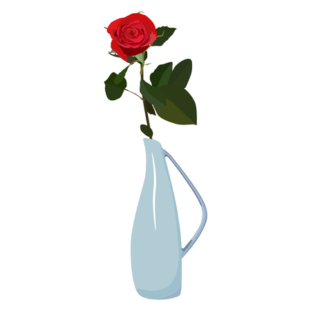 Single red rose in vase, vector flat isolated illustration. Beautiful flower for greeting card, invitation, poster, banner.