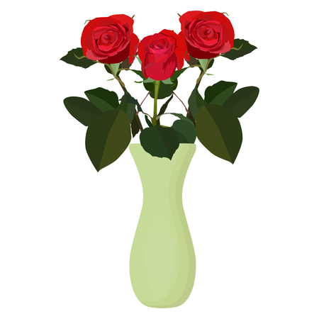 Bouquet of red roses in vase, vector flat isolated illustration. Beautiful flowers for greeting card, invitation, poster, banner.