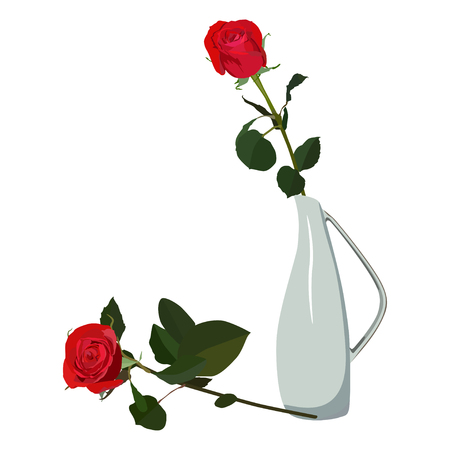 Red rose in vase, vector flat isolated illustration. Beautiful flower for greeting card, invitation, poster, banner. Ilustração