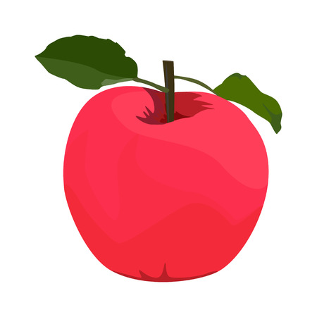 Red apple, vector flat style design isolated illustration