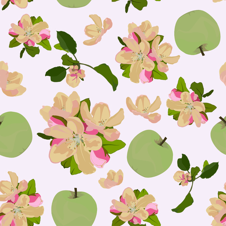 Vector seamless pattern with apple tree blossom