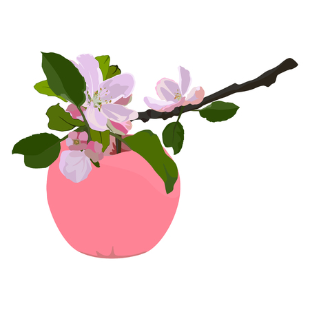 Pink apple and branch in blossom, vector flat isolated illustration
