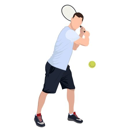Tennis player with ball and racket, vector flat isolated illustration Standard-Bild - 128915991