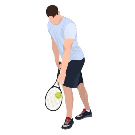 Tennis player with ball and racket, vector flat isolated illustration Standard-Bild - 128915994