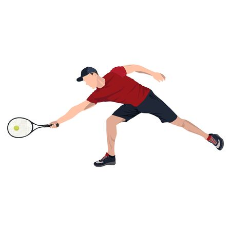 Tennis player with ball and racket, vector flat isolated illustration Иллюстрация