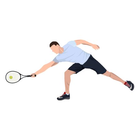 Tennis player with ball and racket, vector flat isolated illustration Standard-Bild - 128916103