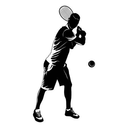 Siluetta nera del giocatore di tennis su fondo bianco, illustrazione di vettore Vettoriali