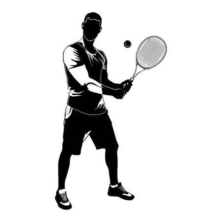 Jugador de tenis silueta negra sobre fondo blanco, ilustración vectorial