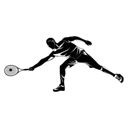 Tennis player black silhouette on white background, vector illustration Иллюстрация