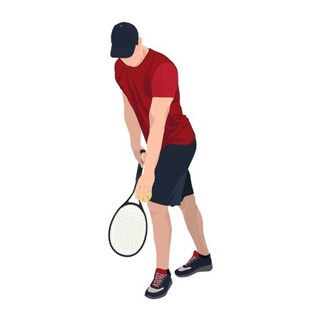 Tennis player with ball and racket, vector flat isolated illustration Standard-Bild - 129046612