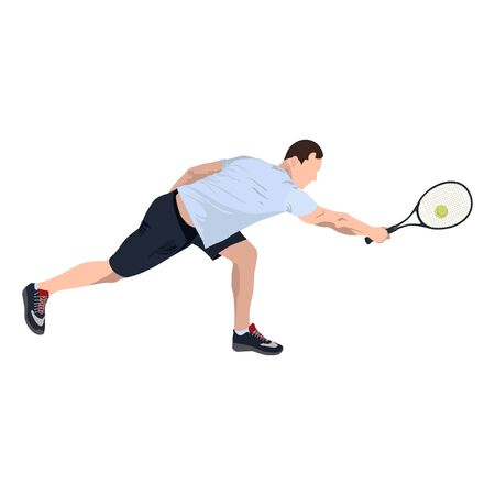 Tennis player with ball and racket, vector flat isolated illustration Standard-Bild - 129046636