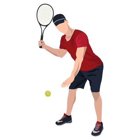 Tennis player with ball and racket, vector flat isolated illustration Standard-Bild - 129046625