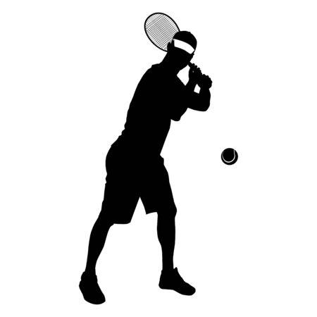 Tennis player black silhouette on white background, vector illustration Illustration