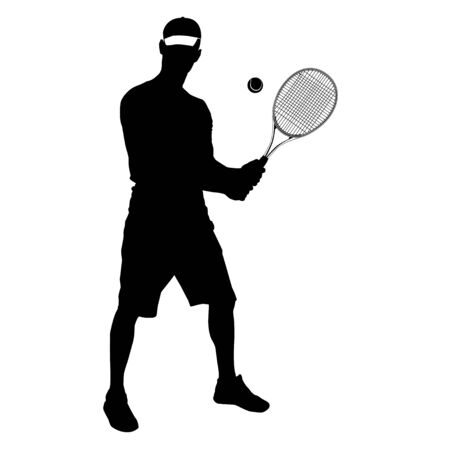 Tennis player black silhouette on white background, vector illustration Ilustração