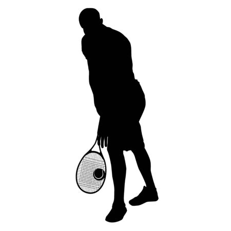 Tennis player black silhouette on white background, vector illustration