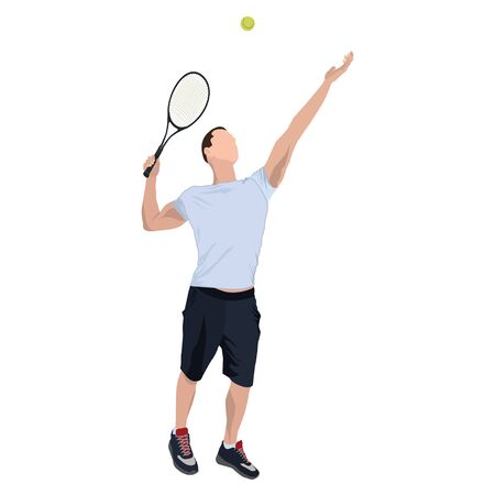 Tennis player with ball and racket, vector flat isolated illustration