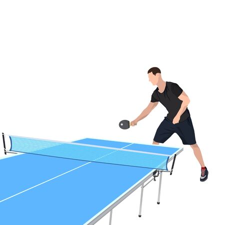 table tennis game player and equipment, vector isolated illustration