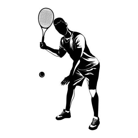 Tennis player black silhouette on white background, vector illustration
