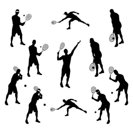 Joueur de tennis silhouette noire sur fond blanc, illustration vectorielle