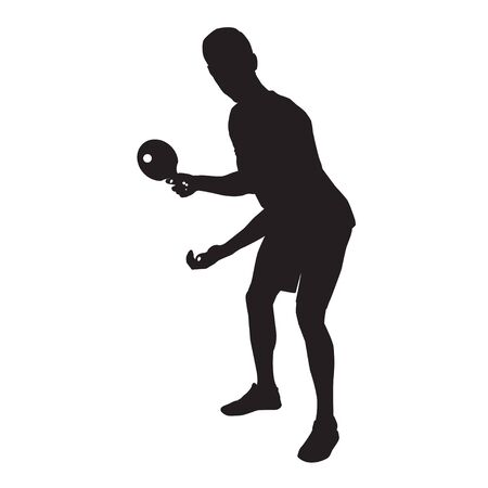 Table tennis player black silhouette on white background, vector illustration