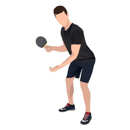 Table tennis player with ball and racket, vector flat isolated illustration Illustration