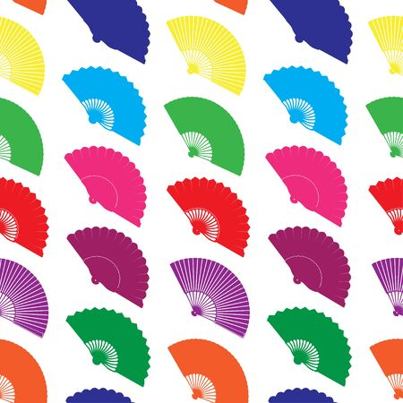 Vector seamless pattern with color hand fans Vettoriali