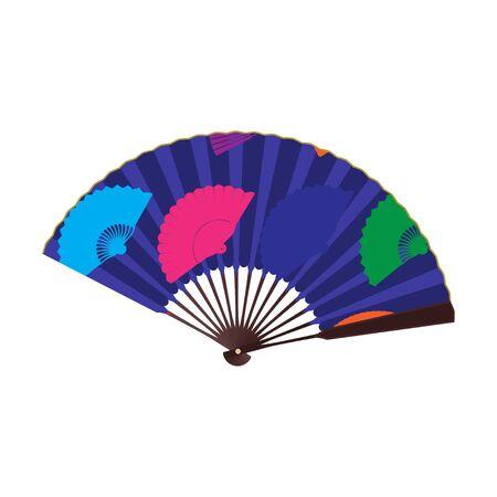 Oriental folding fan, vector flat isolated illustration