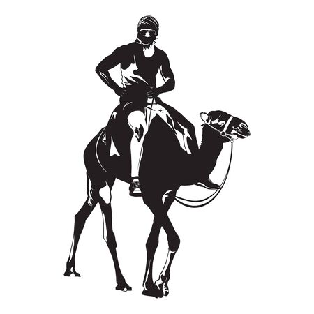 Young man traveler riding camel silhouettes vector isolated illustration