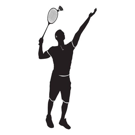 Badminton player with racket and shuttlecock, black silhouette, vector illustration